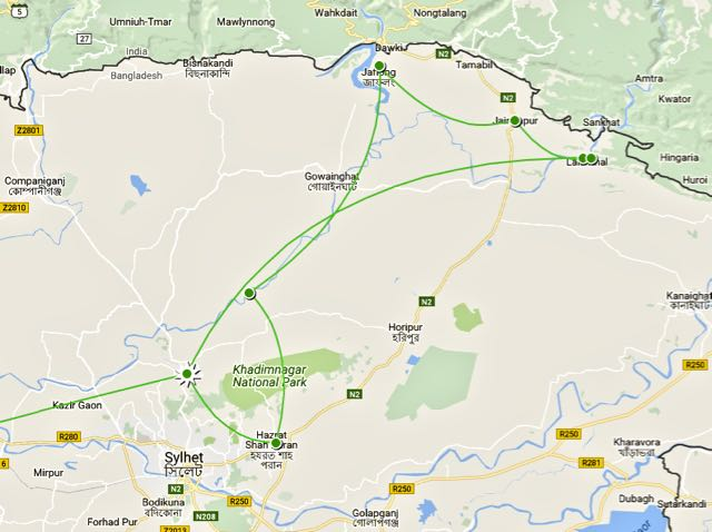 places to see in sylhet itinerary map