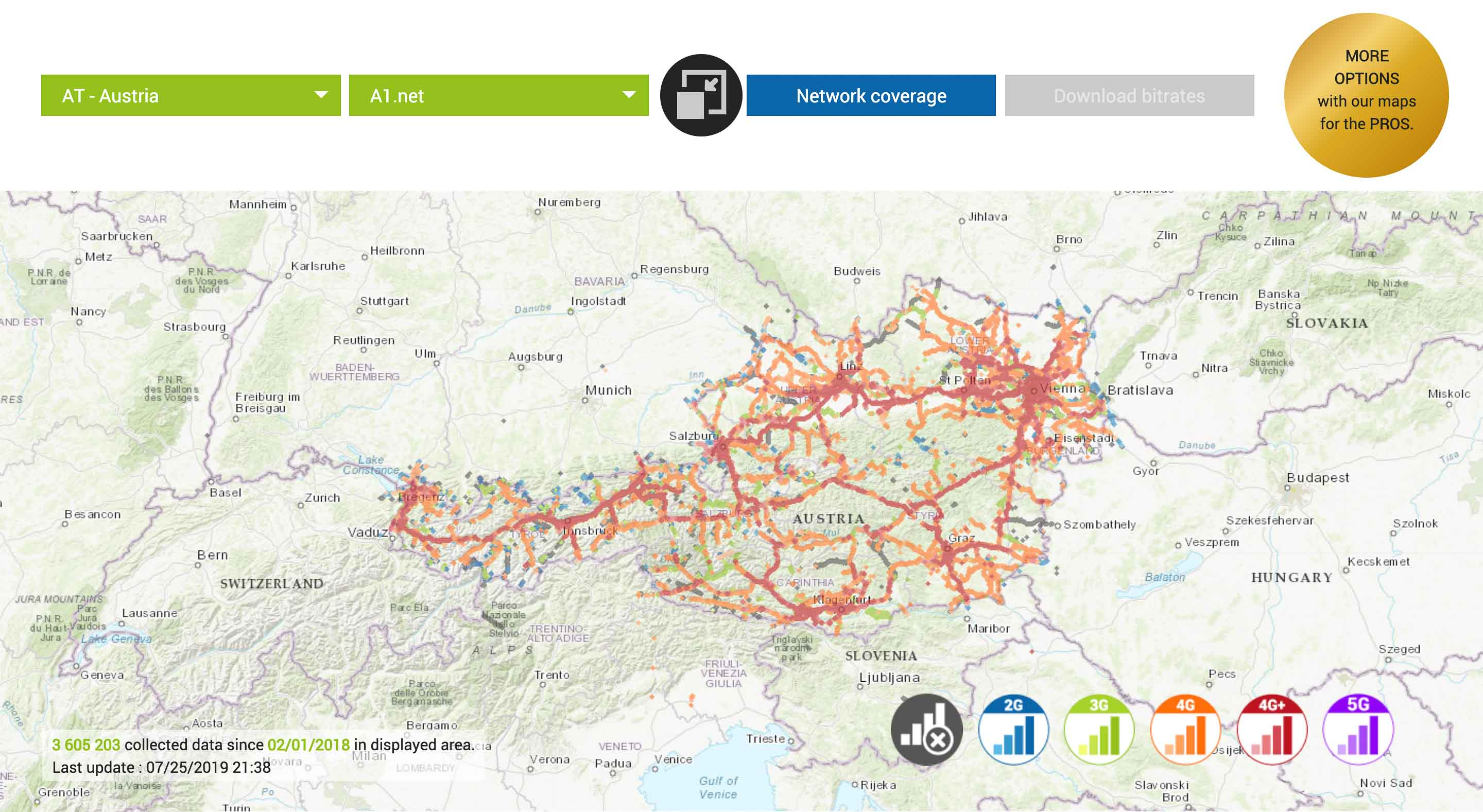 a1 austria mobile network map