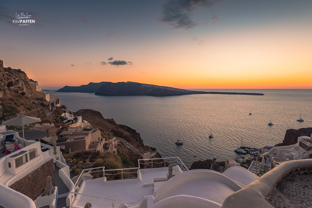 Oia sunset from terrace white side suites