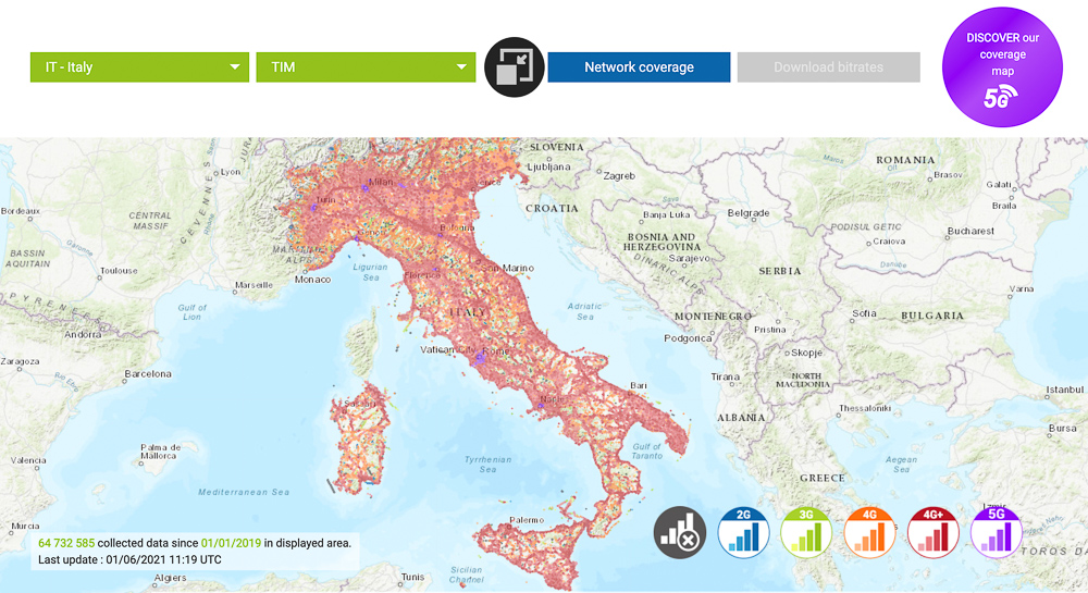 tim italy network coverage map