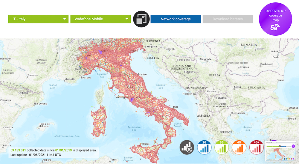 vodafone italy network coverage map