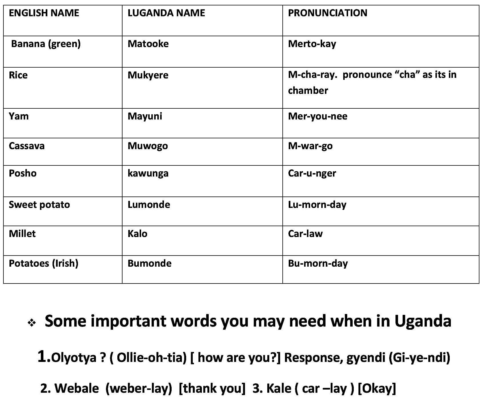 useful words uganda language