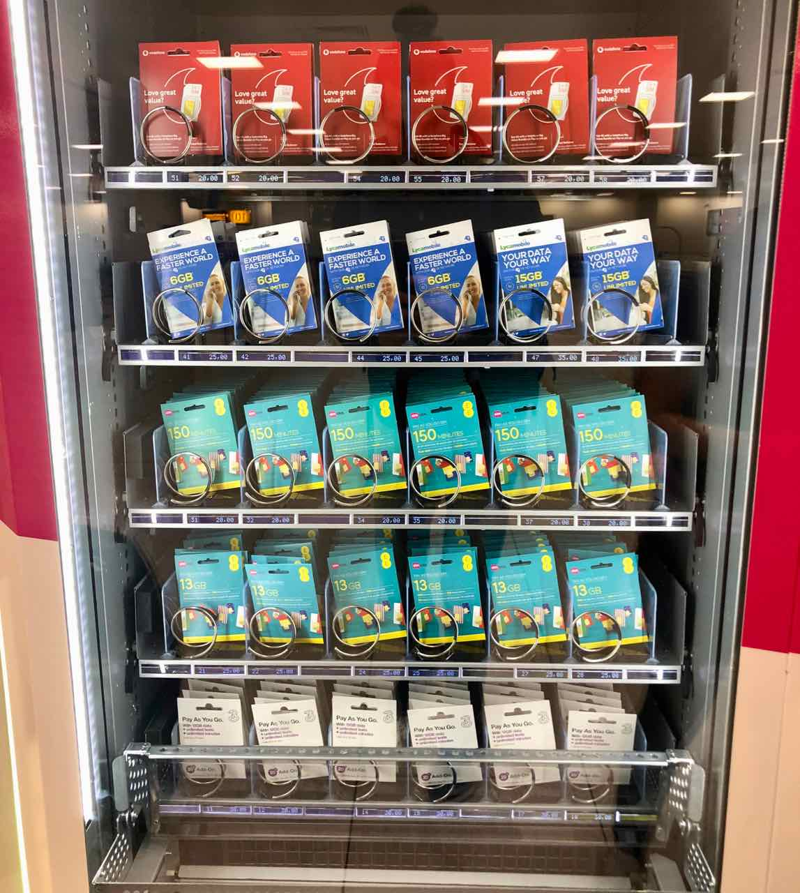 sim card vending machine luton airport