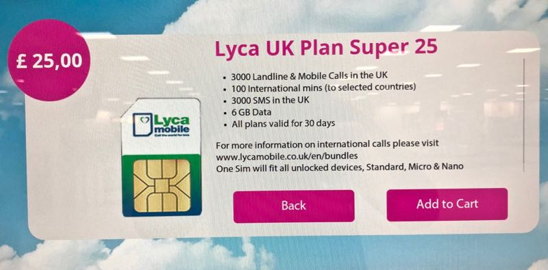Buying a UK Sim Card at London Stansted Airport in 2019