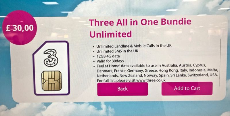 three uk sim card london stansted