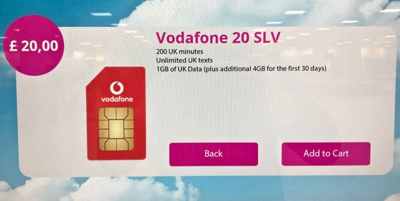 vodafone uk sim card london stansted